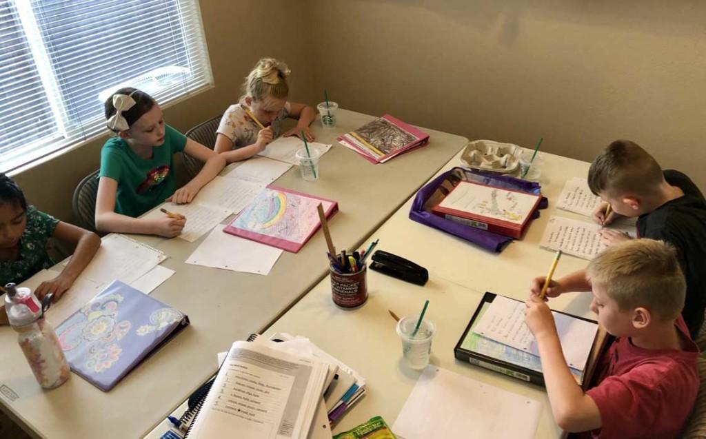Children Writing In Summer School